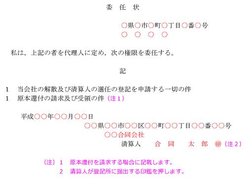 「委任状」の記載例