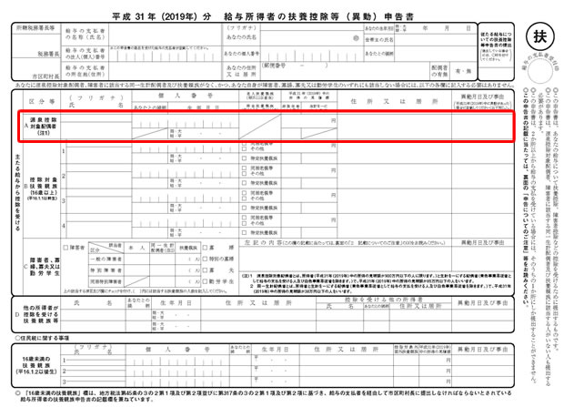 平成31年(2019年) 扶養控除等申告書②