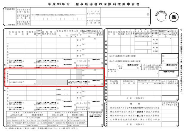 平成30年分 保険料控除申告書③(介護医療保険料)