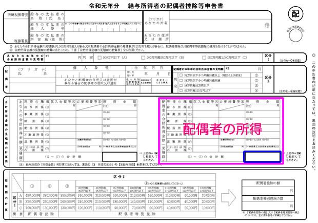 令和元年分 給与所得者の配偶者控除等申告書④