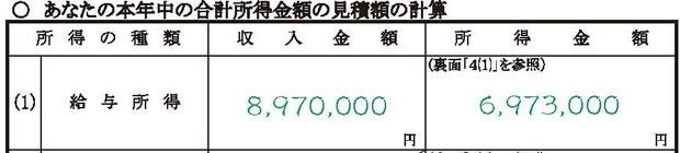 給与所得欄の記入例
