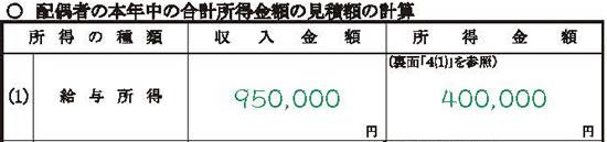 配偶者の本年中の合計所得金額の見積額の計算の記載イメージ