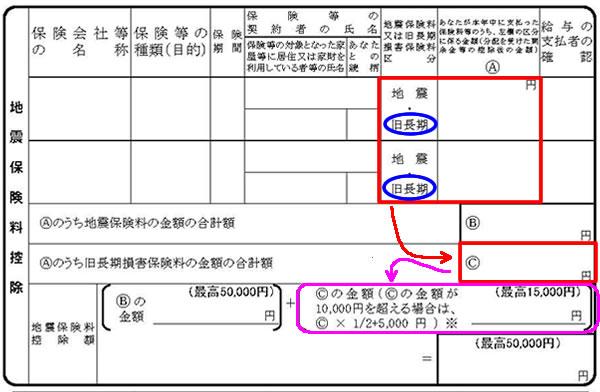 令和2年分 保険料控除申告書⑥(地震保険料控除-旧長期)